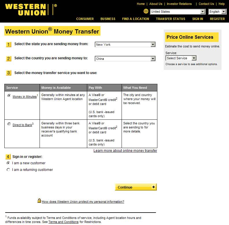 western union online support